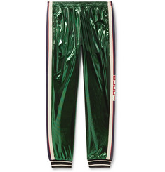 Gucci Tapered Webbing-Trimmed Coated-Jersey Sweatpants