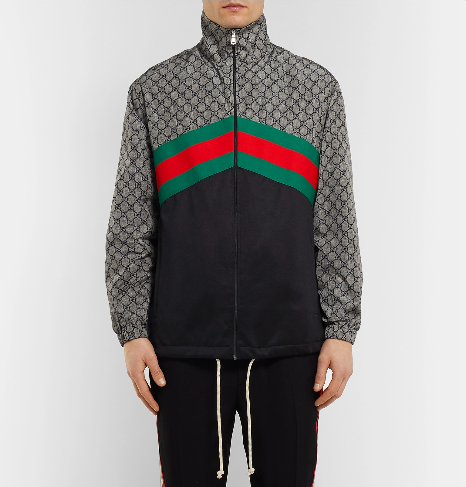 810d662d9fb0 Gucci - Webbing-Trimmed Logo-Print Nylon and Tech-Jersey Track Jacket