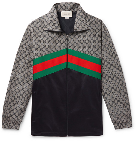72ee2567 GucciWebbing-Trimmed Logo-Print Nylon and Tech-Jersey Track Jacket