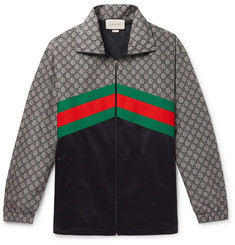 62c2aa759 Gucci Webbing-Trimmed Logo-Print Nylon and Tech-Jersey Track Jacket