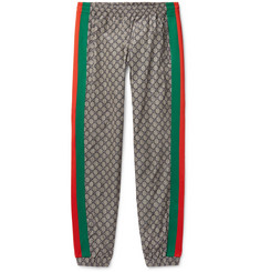 Gucci - Webbing-Trimmed Logo-Print Shell Drawstring Trousers