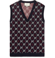 Gucci - Slim-Fit Logo-Jacquard Wool Sweater Vest