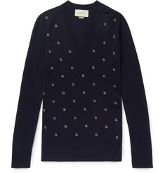 Gucci - Slim-Fit Logo-Intarsia Wool Sweater