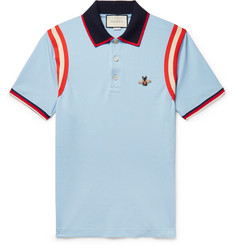 fa48d6966 Gucci - Appliquéd Striped Cotton-Blend Piqué Polo Shirt
