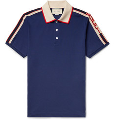 Gucci - Webbing-Trimmed Stretch-Cotton Piqué Polo Shirt