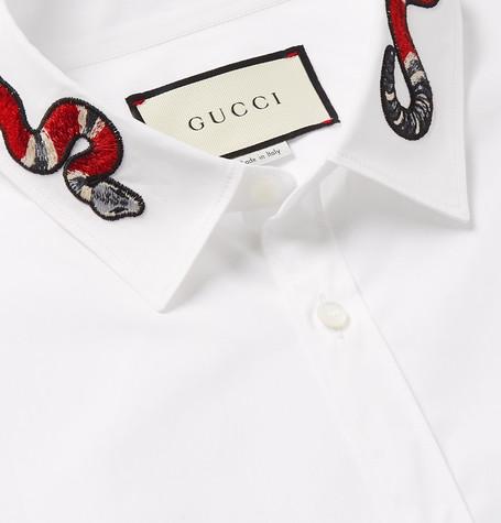 e5b06d594 Gucci Duke Snake-AppliquÉD Cotton-Poplin Shirt In White   ModeSens