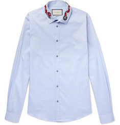 Gucci Duke Appliquéd Cotton Oxford Shirt