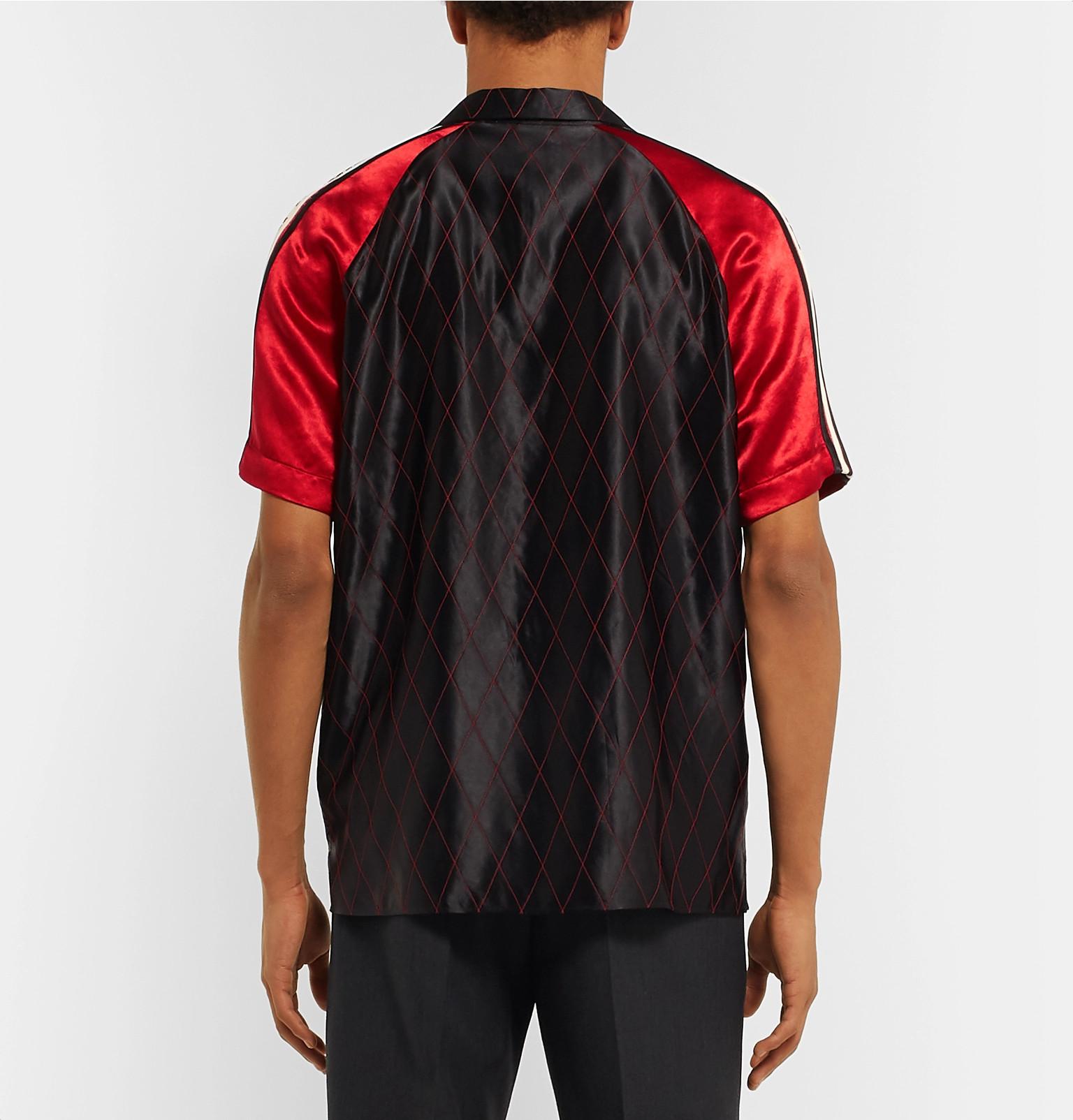Gucci - Camp-Collar Webbing-Trimmed Appliquéd Satin Shirt fe25ffdcbd4
