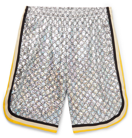 Webbing Trimmed Logo Embroidered Iridescent Jersey Shorts by Gucci