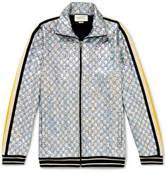 Gucci Webbing-Trimmed Logo-Embroidered Iridescent Jersey Track Jacket
