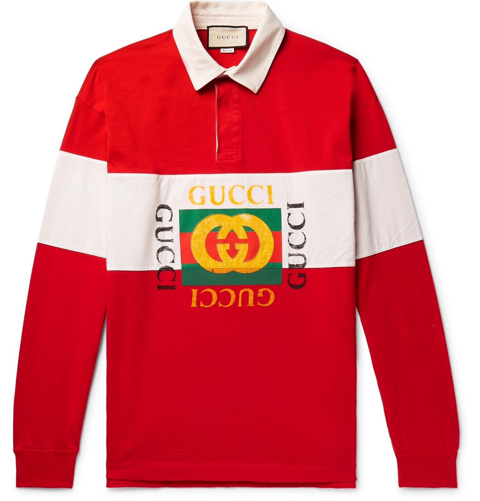 82c3e95f Gucci Logo Print Striped Loopback Cotton Jersey Polo Shirt