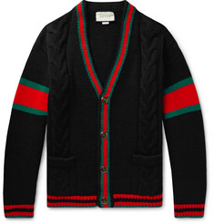 Gucci Stripe-Trimmed Cable-Knit Wool Cardigan