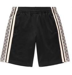 Gucci - Logo-Print Striped Tech-Jersey Shorts