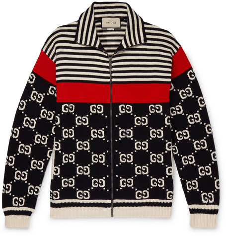 60f8cf8d97e Gucci - Logo-Intarsia Striped Cotton Zip-Up Sweater