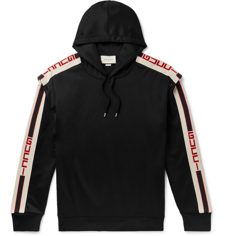 2a89996c83e Gucci - Webbing-Trimmed Tech-Jersey Hoodie
