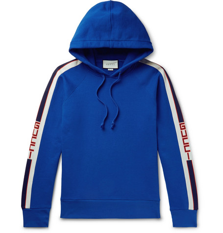 Webbing Trimmed Loopback Cotton Jersey Hoodie by Gucci