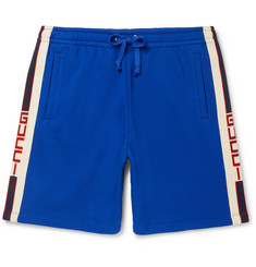 Gucci Wide-Leg Logo Webbing-Trimmed Loopback Cotton-Jersey Shorts