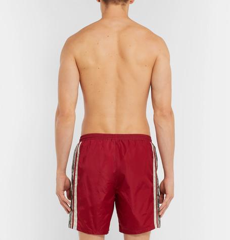 4a1995ca Wide-Leg Long-Length Striped Logo-Print Swim Shorts in Red