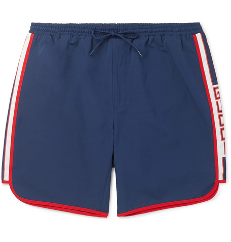 Gucci Short-Length Grosgrain-Trimmed Swim Shorts