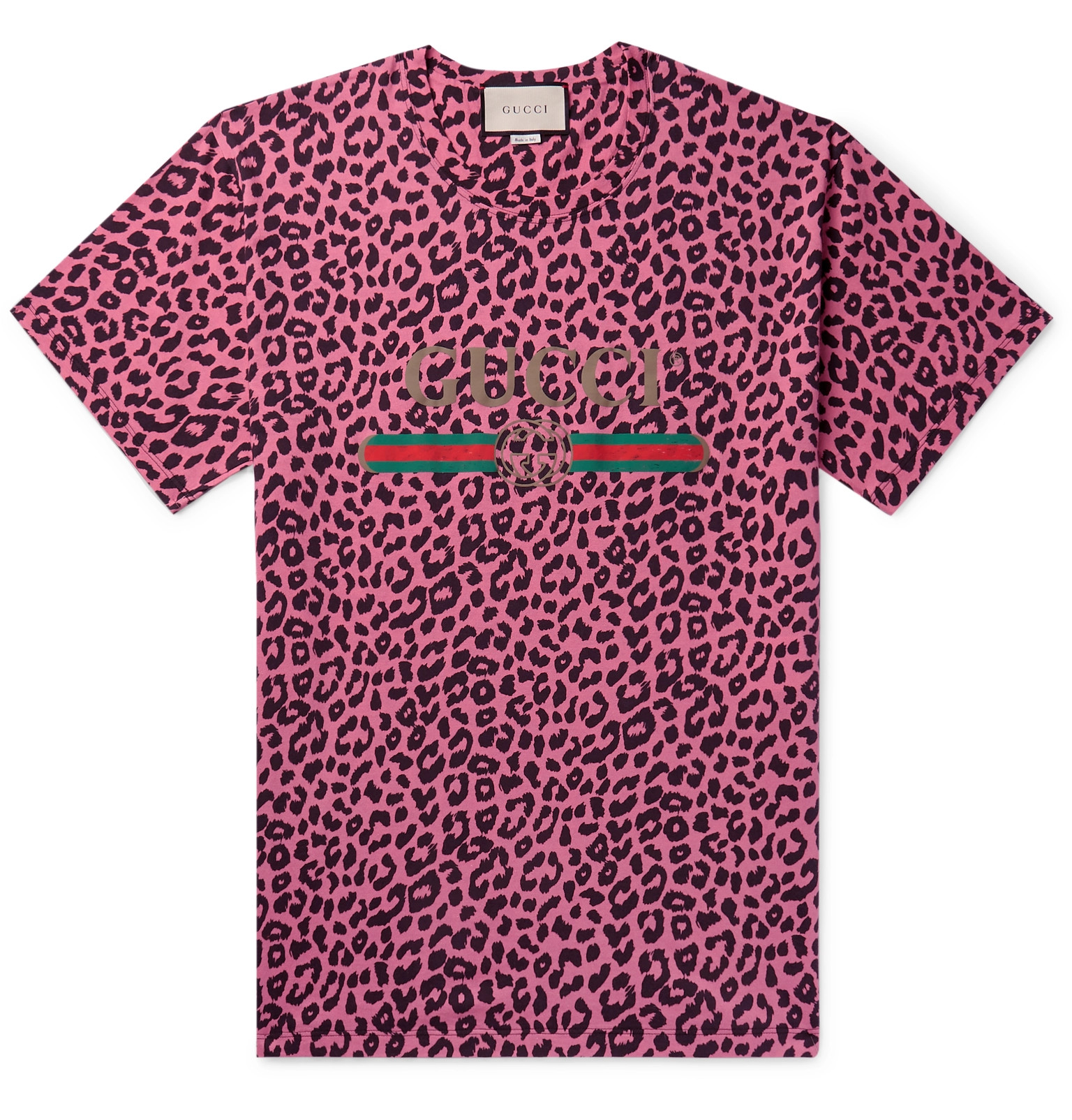 Gucci Logo And Leopard Print Cotton Jersey T Shirt