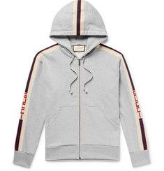 Gucci - Logo Webbing-Trimmed Loopback Cotton-Jersey Zip-Up Hoodie