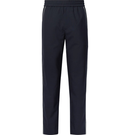 YOU AS Lukas Contrast-Trimmed Woven Drawstring Trousers - Midnight Blue