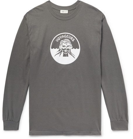YOU AS Printed Cotton-Jersey T-Shirt - Gray