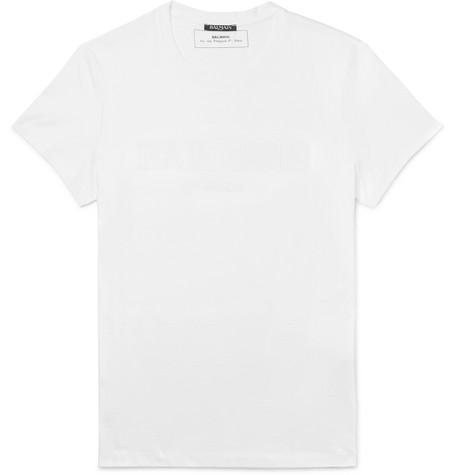 Balmain Tops Slim-Fit Logo-Embossed Cotton-Jersey T-Shirt