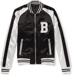Balmain - Two-Tone Logo-Embroidered Satin Bomber Jacket