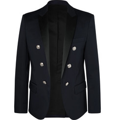 Balmain - Navy Slim-Fit Double-Breasted Satin-Trimmed Cotton-Blend Blazer