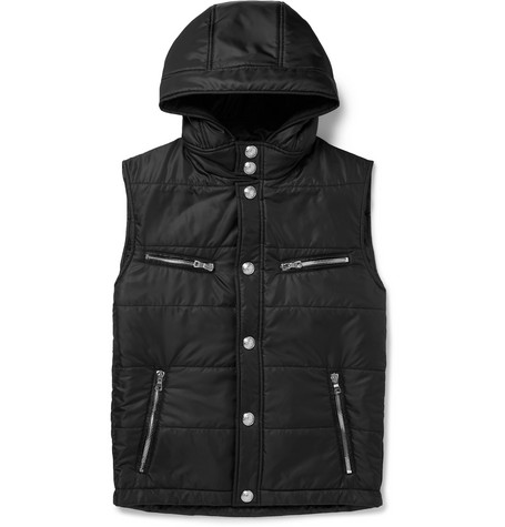 Padded Quilted Shell Hooded Gilet by Balmain
