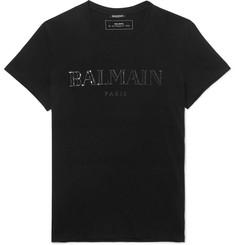 9cd60214 Balmain Slim-Fit Metallic Logo-Print Cotton-Jersey T-Shirt