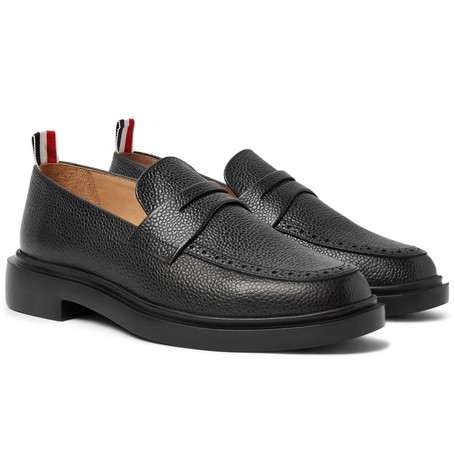 Pebble-grain Leather Penny Loafers - Black
