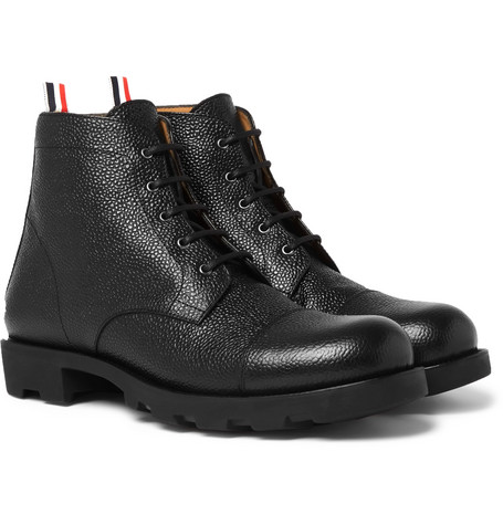 Thom Browne Pebble-Grain Leather Cap-Toe Boots