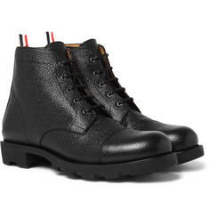Thom Browne - Pebble-Grain Leather Cap-Toe Boots