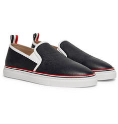 Thom Browne - Pebble-Grain Leather Slip-On Sneakers
