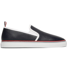 Thom Browne Pebble-Grain Leather Slip-On Sneakers