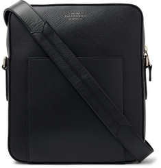 Smythson Panama Cross-Grain Leather Messenger Bag