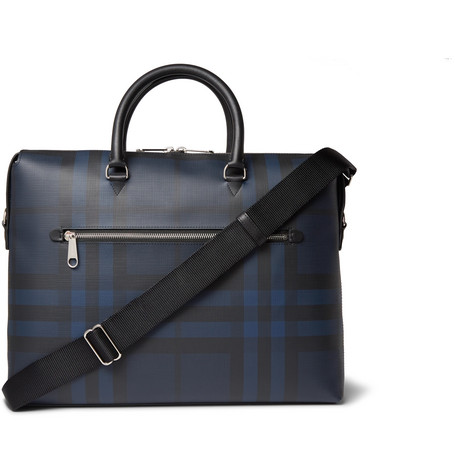 1c4b5a5f50 Burberry · Checked Textured-Leather Briefcase