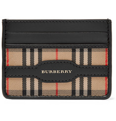 Burberry - Checked Twill and Leather Cardholder