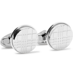Burberry Checked Silver-Tone Cufflinks