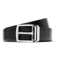 Burberry 3.5cm Black and Dark-Brown Reversible Leather Belt