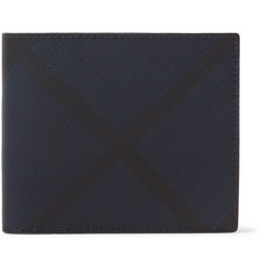Burberry Checked Coated-Canvas and Leather Billfold Wallet