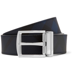 Burberry 3.5cm Navy and Black Reversible Leather and Cross-Grain Faux Leather Belt