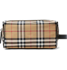 Burberry - Leather-Trimmed Checked Nylon Wash Bag