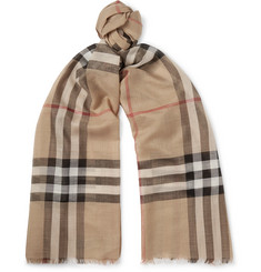 Burberry - Checked Fringed Wool and Silk-Blend Scarf