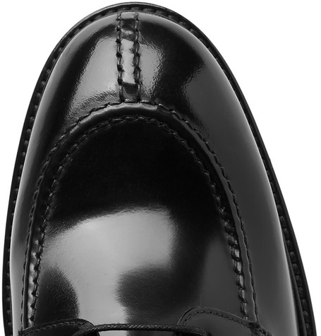 Andrew Polished-leather Derby Shoes - Black