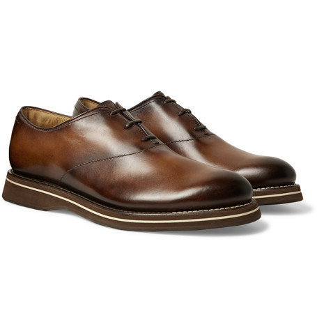 Berluti Alessio Padova Venezia Leather Oxford Shoes In Brown