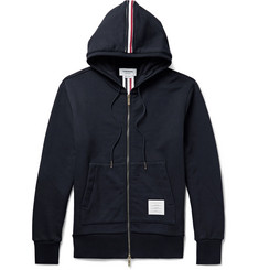 Thom Browne Grosgrain-Trimmed Loopback Cotton-Jersey Zip-Up Hoodie