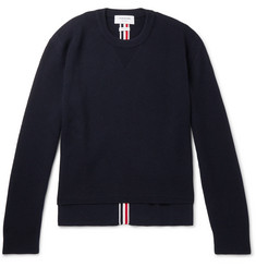 Thom Browne Striped Waffle-Knit Merino Wool Sweater